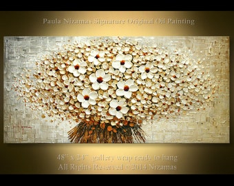 Oil Painting on canvas Palette Knife White Blooms Contemporary Impasto Floral Nizamas  Ready to hang