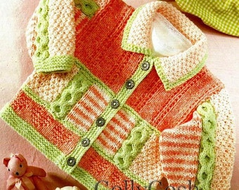 PDF Knitting Pattern - Baby/Children's Cardigan To fit 16-26 inch chests - Instant Download