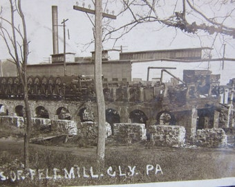 Vintage Photograph RPP Ruins of Felt Mill Cly PA 1910  Industrial Factory Rare Early 1900s Antique Picture vtg Real Picture Post Card Old