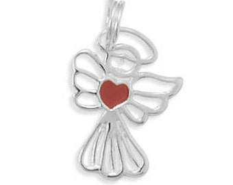 Sterling Silver Cut Out ANGEL with Red Heart Charm