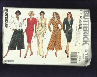 Butterick 5169 Slant Front Evening Jacket & Pencil Skirt or Gauchos Sizes 6 to 12 UNCUT