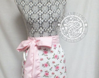 Apron, Towel Apron, Towel, Kitchen Towel, Shabby Chic, Pink, Rose, Hostess Apron
