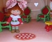 Living Room Rug for Strawberry Shortcake Vintage Berry Happy Home Dollhouse, Red with White Flowers