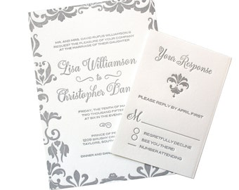 Damask Letterpress Wedding Invitation, Grey, Silver, Calligraphy Font, Luxury Style