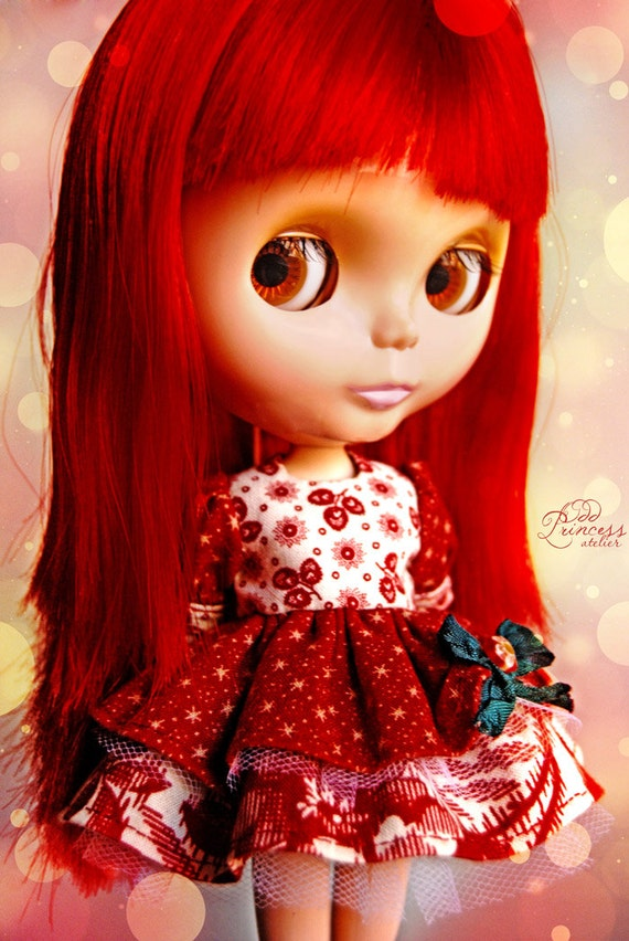 SENSATION Bohemian Exclusive Colorful Red Ooak Dress For BLYTHE By Odd Princess Atelier, Vintage Style, Hand Stitched, Special Dress
