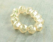 Yellow 10mm English Cut Czech Glass Bead AB Antique ICED CHAMPAGNE (10)