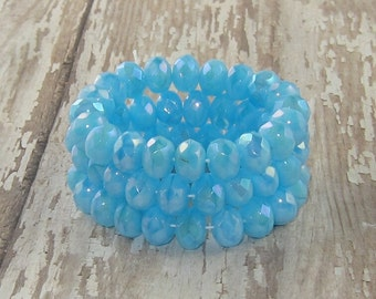 Aqua 6x9mm Czech Glass Bead AB Rondelle Faceted Donut AWESOME AQUA (10)