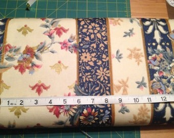 Cream Navy Rose with Gold Detail Vintage Upholstery Fabric x one yard