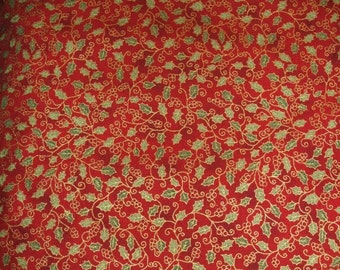 Holly Berries Christmas Cotton Fabric by Fabri-Quilt x one yard