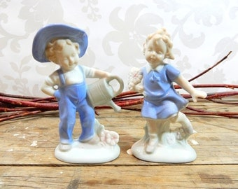 Boy and Girl figurine Set, Lego Japan,  Lladro styled, Blue and beige high gloss glaze ceramic figures, fswp