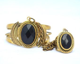 Wild Horses Cuff  Jet Cuff Slave Cuff  Ring Bracelet Cuff  Heart Majestic  Gold Cuff  Jet Jewelry  Ring Cuff  Healing Stones