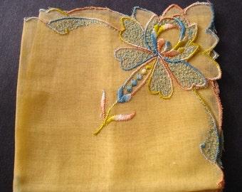 FANTASTIC VINTAGE HANKIE Vintage Hankie Pastel Yellow Color Hand Embroidery Unique Border