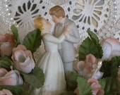 Vintage Lomey Circa 1940s Bride and Groom Porcelain with Spun Glass Heart