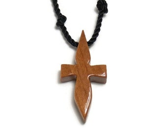 Men's Cross Necklace - Minimalist Cross Necklace - Cross Necklace Men - Cherry Hardwood - Necklaces for Guys