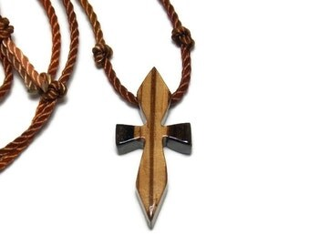 Men's Cross Necklace - Striped Ebony & Zebrawood - Cross Pendant