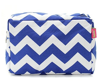 Personalized  Cosmetic Case Royal Blue Monogrammed