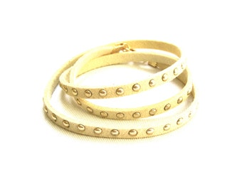 SALE, Wrap Bracelet, Stud Wrap Bracelet, Cream Suede Leather, Suede Wrap Bracelet, Teen Bracelet, Gift for Her,Under 5 Dollars,Ready to Ship