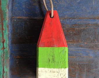 "Coastal Decor, 11"" Lobster Buoy Red, Green, White, Nautical Wooden by SEASTYLE"