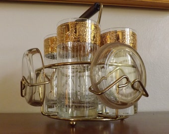 Culver Tyrol Vintage Drink Set with Coasters and Caddy