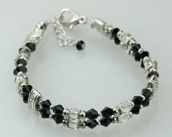 Black Beaded layered bracelet Bridesmaid gifts Free US Shipping handmade Anni designs