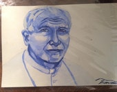 ORIGINAL Watercolor of St. John Paul II-perfect for a gift, home altar or any room