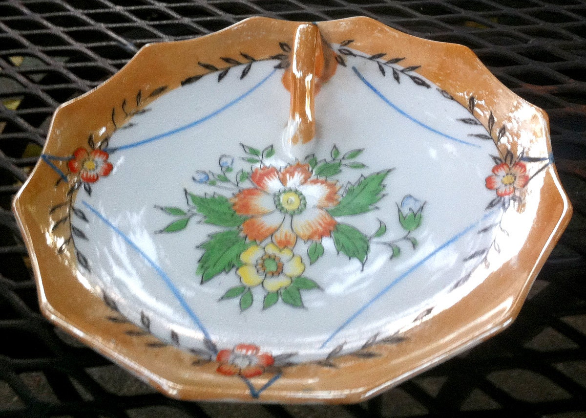 Peach lusterware canap tray asian floral by potterymaven2 for Canape trays