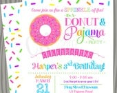 Donuts and Pajamas Sprinkle Fun Birthday Invitation - Baby Shower Invite- Donut Birthday Party