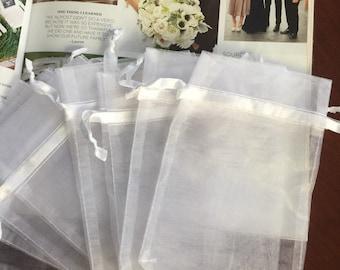 "100 pcs Organza bags, 4"" x 6"" organza bag , favor bag , jewel organza bag, white organzas bags"