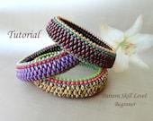 ANACONDA beaded bracelet beading tutorials and patterns superduo seed bead jewelry bangle beadweaving tutorial beading pattern instructions