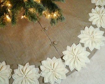 60 burlap christmas tree skirt with gold threads and ivory poinsettias free shipping - Gold Christmas Tree Skirt