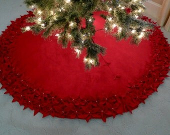 """72"""" Christmas Tree Skirt in Premium Red felt with a dbl row of hand cut and hand sewn flowers at the hem. FREE SHIPPING"""
