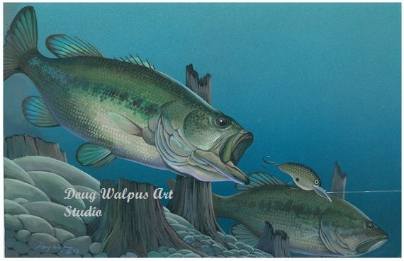 Fish print largemouth bass painting lure water acrylic for Fish scenery drawing
