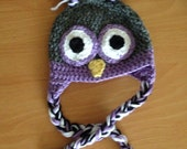 Purple and Grey Owl Hat