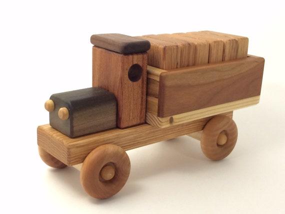 Handmade Wooden Toy Cargo Truck w/Plain Blocks