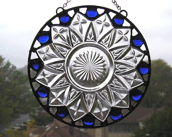 Stained Glass Suncatcher|Vintage Plate|Cobalt Glass Gems|Blue|Round Suncatcher|Handcrafted|Made in USA