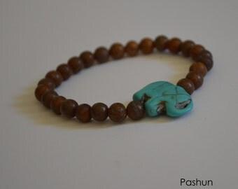 Seashell Jewelry … Jasper Beads With Elephant ... Healing Yoga Stretch Bracelet (1195)