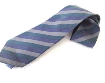 christian dior necktie, vintage dior tie, grey blue green dior tie, diagonal strips pattern, high fashion tie,  made in france