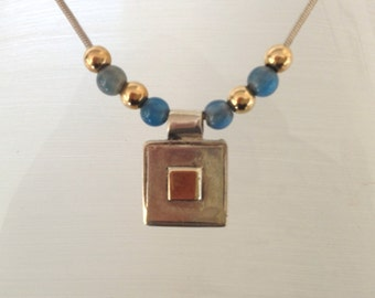 sterling silver and gold square pendant on blue gold beaded necklace, 925 made in italy silver,