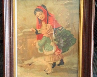 Antique Print of 2 Girls in the Snow