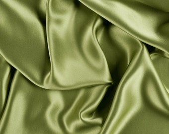 "45"" Wide 100% Silk Charmeuse Apple Green By the Yard"