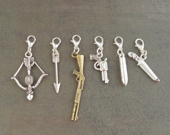 BASIC WEAPONS Charm Set - For The Create Your Own The Walking Dead Zombie Apocalypse Charm Bracelet - Set Of 6 - Zombie Survival Kit Jewelry