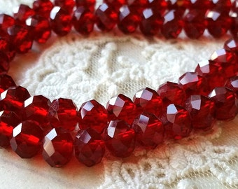 6 x 8 mm 48 Faceted Cut Rondelle  Deep Red Color Glass / Crystal / Lampwork Beads / Electroplate bead (.mc)
