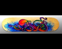 Octopus Art | Skateboard Decor | Surf | Bright Wall Art | Octopus Art | Beach Decor | Surf Decor | Octopus Painting | Squid | Sea Creature