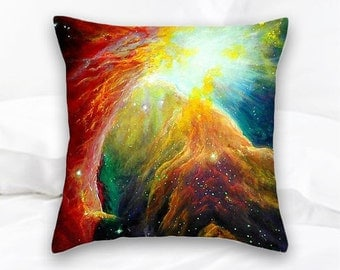 Orion Nebula Throw Pillow | Nerd Decor | Geek Gift | Orion Constellation | Galaxy Pillow | Space Pillow | Hippie Decor | Nebula Decor