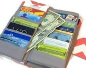 Women's Wallet 38 credit card Organizer Wallet, 2 Money Pockets, Zippered Coin Pocket Card Organizer Chevron Card Wallet, Women's Wallet