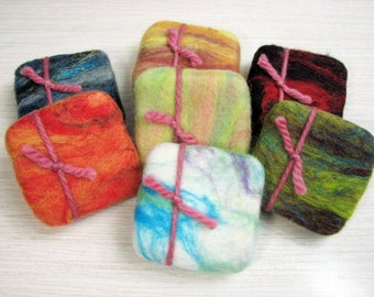 Clearance Sale!! Apple Strawberry Felted Soap in a sweater - Shea Butter Hand-made