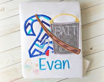 Boys Birthday Fishing applique shirt- Birthday photo prop- Monogrammed custom shirt- Fish