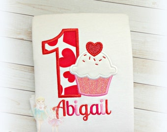 Cupcake birthday shirt - Valentine's Day birthday shirt - 1st Birthday Valentine's Day themed shirt - heart cupcake shirt - girls birthday