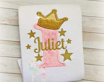 1st birthday princess shirt - gold and pink princess birthday shirt - gold stars - pink with gold stars - star themed birthday- twinkle star