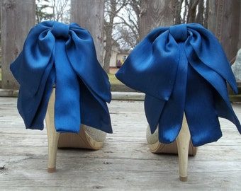 Wedding Navy Blue Large Bow Satin Shoe Clips,Bridal Shoe Clips Special Occasion, Prom, Pageant, Dance